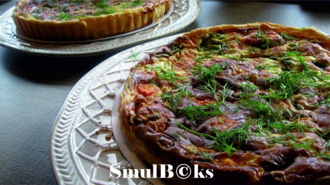 zalmquiche met worteltjes lente-ui en dille